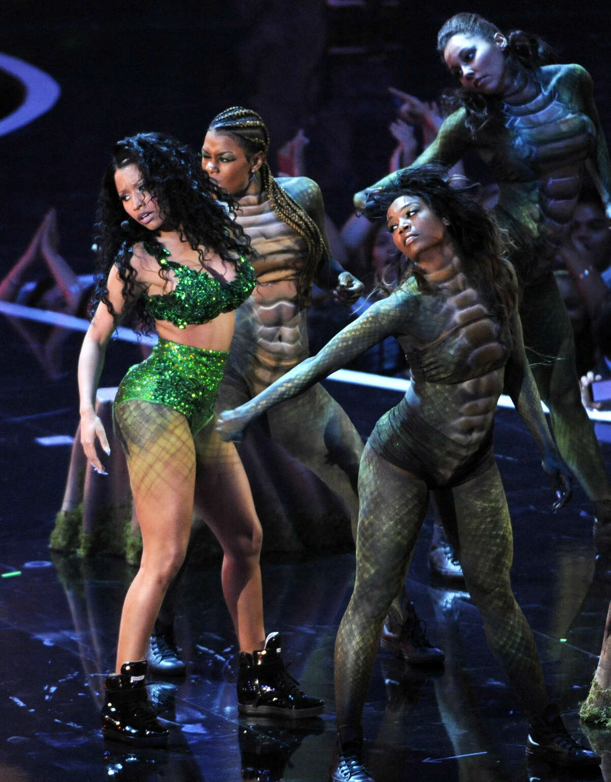 Nicki Minaj performs at the MTV Video Music Awards at The Forum on Sunday, Aug. 24, 2014, in Inglewood, Calif. (Photo by Chris Pizzello/Invision/AP)