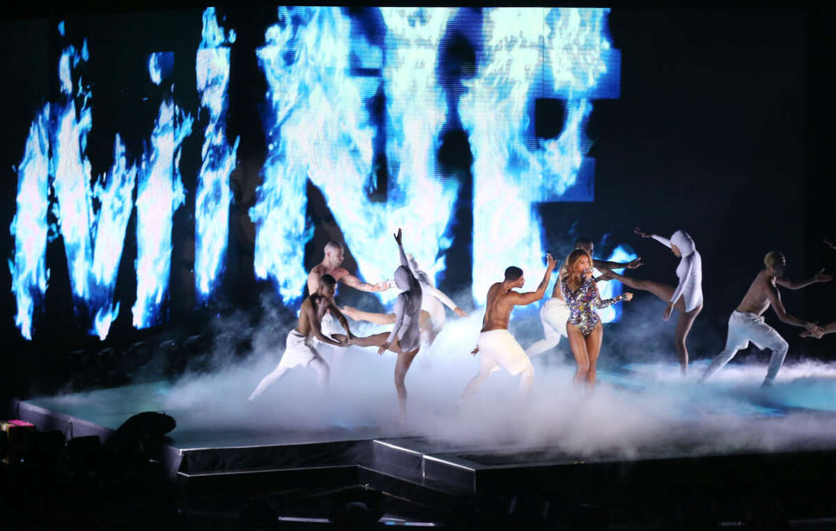 Beyonce performs at the MTV Video Music Awards at The Forum on Sunday, Aug. 24, 2014, in Inglewood, Calif. (Photo by Matt Sayles/Invision/AP)