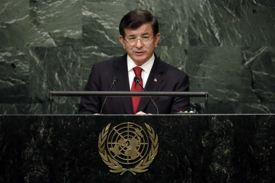 Turkey's Prime Minister Ahmet Davutoglu addresses the 70th session of the United Nations General Assembly, at U.N. Headquarters, Wednesday, Sept. 30, 2015. (AP Photo/Richard Drew)