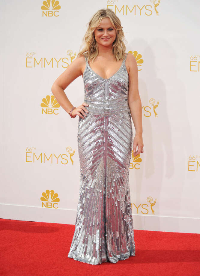 Amy Poehler arrives at the 66th Annual Primetime Emmy Awards at the Nokia Theatre L.A. Live on Monday, Aug. 25, 2014, in Los Angeles. (Photo by Richard Shotwell/Invision/AP)