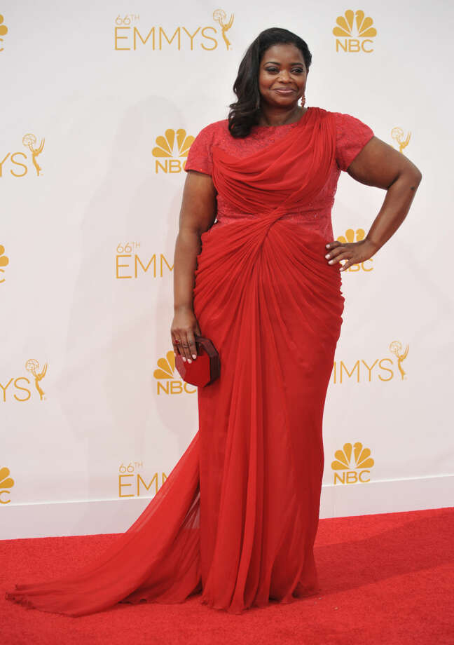 Octavia Spencer arrives at the 66th Annual Primetime Emmy Awards at the Nokia Theatre L.A. Live on Monday, Aug. 25, 2014, in Los Angeles. (Photo by Richard Shotwell/Invision/AP)