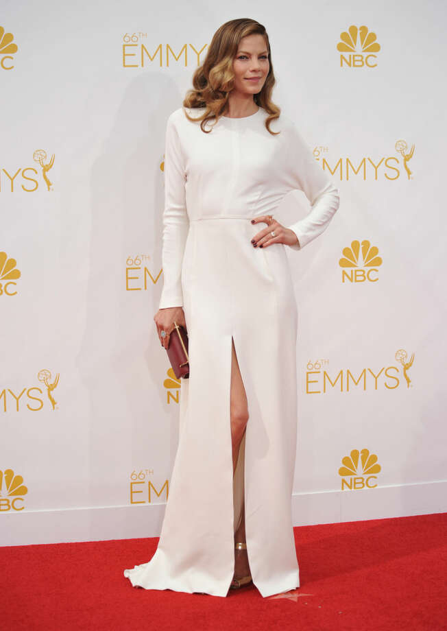Michelle Monaghan arrives at the 66th Annual Primetime Emmy Awards at the Nokia Theatre L.A. Live on Monday, Aug. 25, 2014, in Los Angeles. (Photo by Richard Shotwell/Invision/AP)