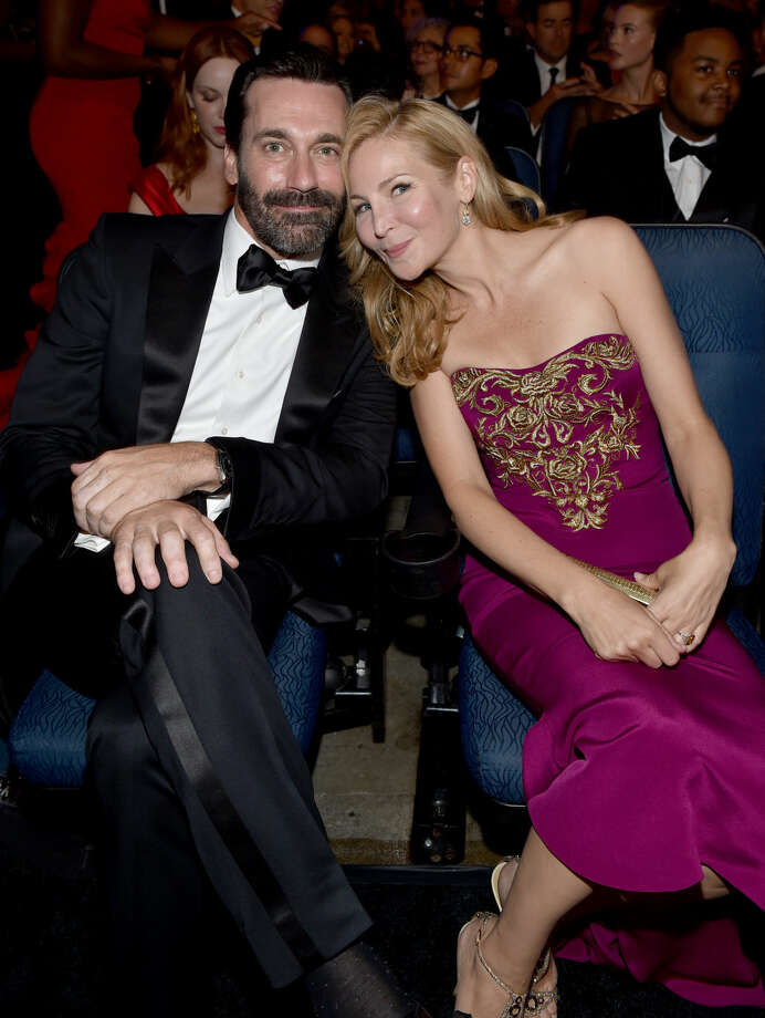 IMAGE DISTRIBUTED FOR THE TELEVISION ACADEMY - EXCLUSIVE - John Ham, left, and Jennifer Westfeldt at the 66th Primetime Emmy Awards at the Nokia Theatre L.A. Live on Monday, Aug. 25, 2014, in Los Angeles. (Photo by John Shearer/Invision for the Television Academy/AP Images)