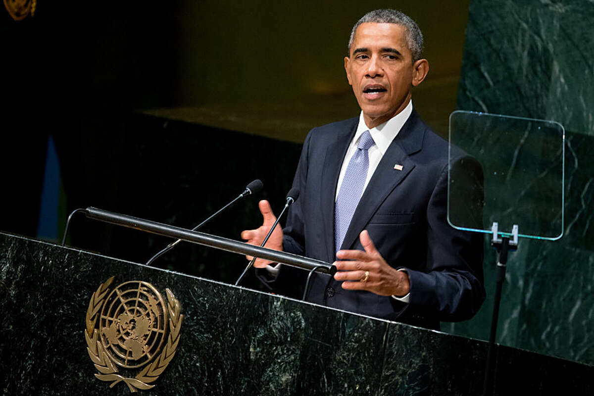 President Barack Obama speaks before the 70th Session of the United Nations General Assembly, Monday, Sept. 28, 2015, at the United Nations headquarters. (AP Photo/Andrew Harnik)