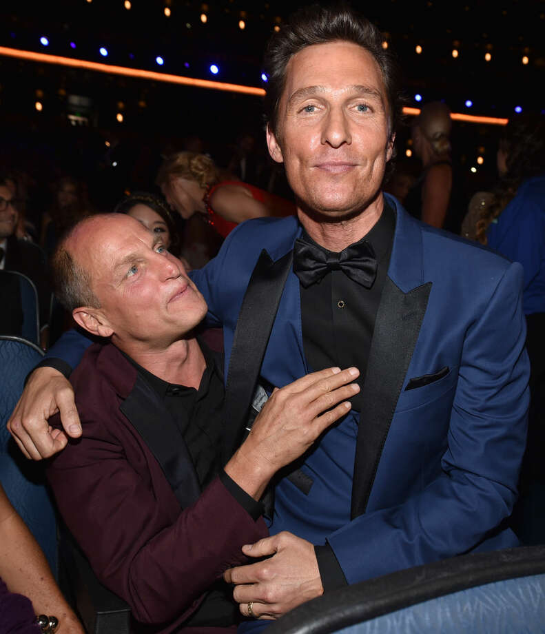 IMAGE DISTRIBUTED FOR THE TELEVISION ACADEMY - EXCLUSIVE - Woody Harrelson, left, and Matthew McConaughey pose at the 66th Primetime Emmy Awards at the Nokia Theatre L.A. Live on Monday, Aug. 25, 2014, in Los Angeles. (Photo by John Shearer/Invision for the Television Academy/AP Images)