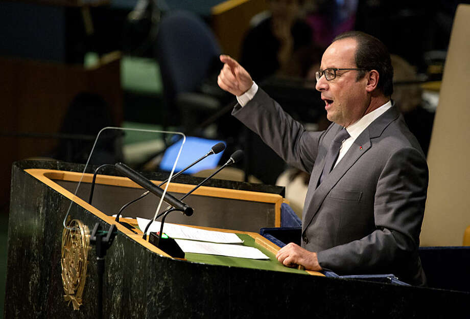 Francois Hollande, president of France, speaks during the 70th session of the United Nations General Assembly at U.N. headquarters, Monday, Sept. 28, 2015. (AP Photo/Craig Ruttle)