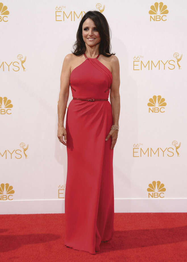Photo by Jordan Strauss/Invision/APJulia Louis-Dreyfus arrives at the 66th Annual Primetime Emmy Awards at the Nokia Theatre L.A. Live Monday.
