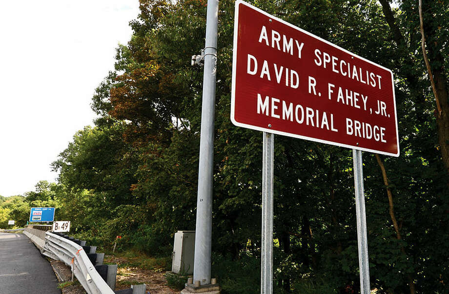 Hour photo / Erik Trautmann The Interstate 95 Richards Avenue Bridge in Norwalk was dedicated to Army Specialist David R. Fahey who lived in Norwalk at the time of his enlistment and died in 2011 during a morning patrol in Kandahar Province, Afghanistan from injuries sustained from an improvised explosive device.