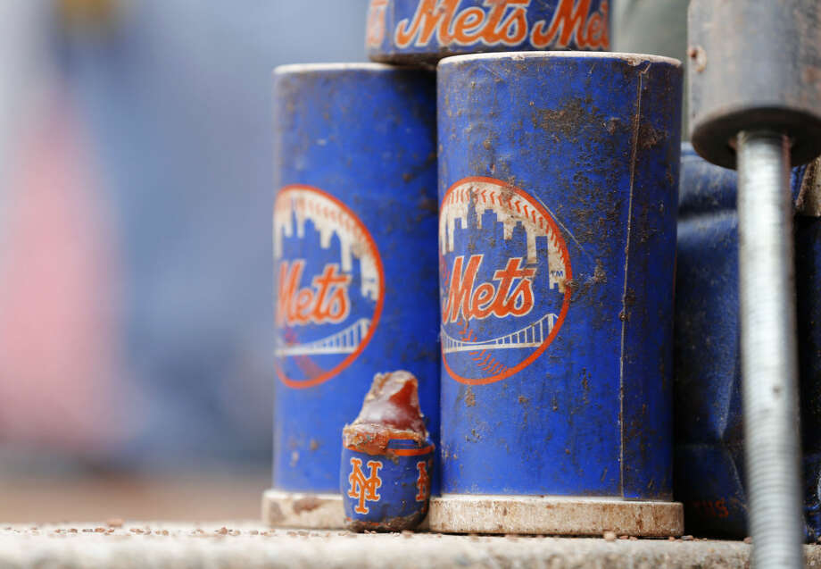 A general view of New York Mets batting weights and pine tar before a baseball game of the Cincinnati Reds against the New York Mets, Saturday, Sept. 26, 2015, in Cincinnati. The Mets won 10-2. (AP Photo/Aaron Doster)