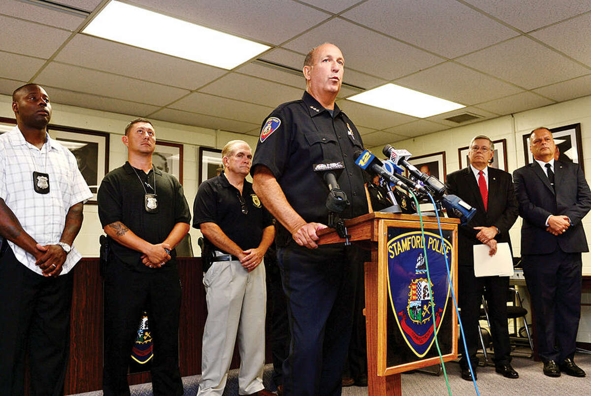Stamford Police Chief Jon Fontneau announce the capture of suspect, Shota Mekoshvili, in connection with the murder of a stamford cab driver early Wednesday morning.