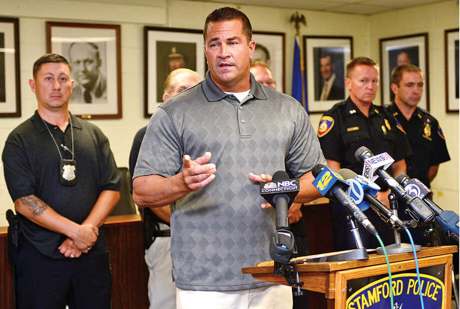 Stamford police Lt. Diedrich Hohn and Stamford police announce the capture of suspect, Shota Mekoshvili, in connection with the murder of a stamford cab driver early Wednesday morning.