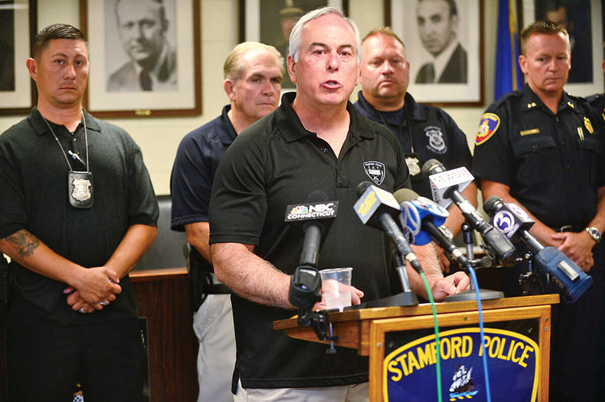 Stamford police Capt. Rich Conklin and Stamford police announce the capture of suspect, Shota Mekoshvili, in connection with the murder of a stamford cab driver early Wednesday morning.