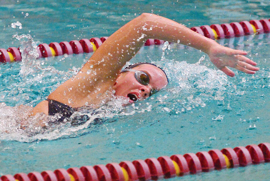Hour photo / Erik Trautmann Emma Kauffeld swims during the 200 freestyle, which she won on Wednesday against Norwalk-McMahon.