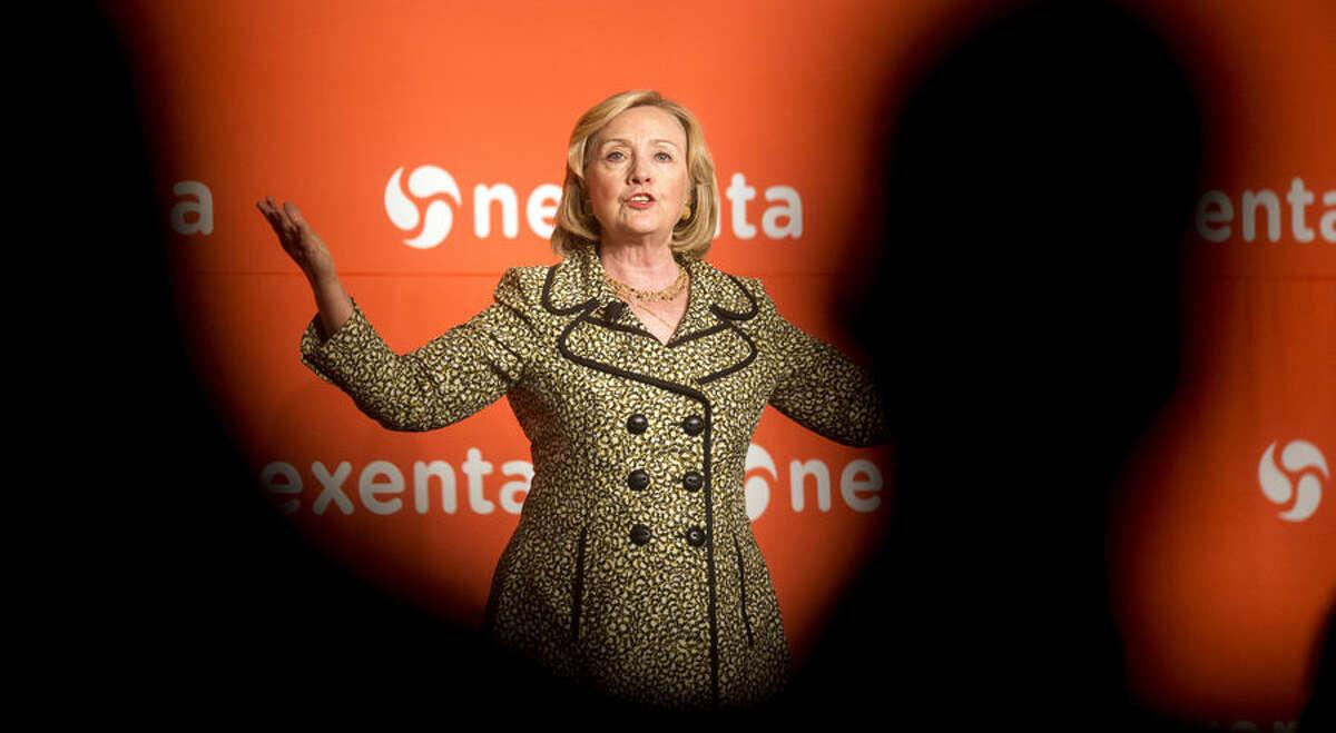 Former Secretary of State Hillary Rodham Clinton speaks at the Nexenta OpenSDx Summit, Thursday, Aug. 28, 2014, in San Francisco. (AP Photo/Noah Berger)