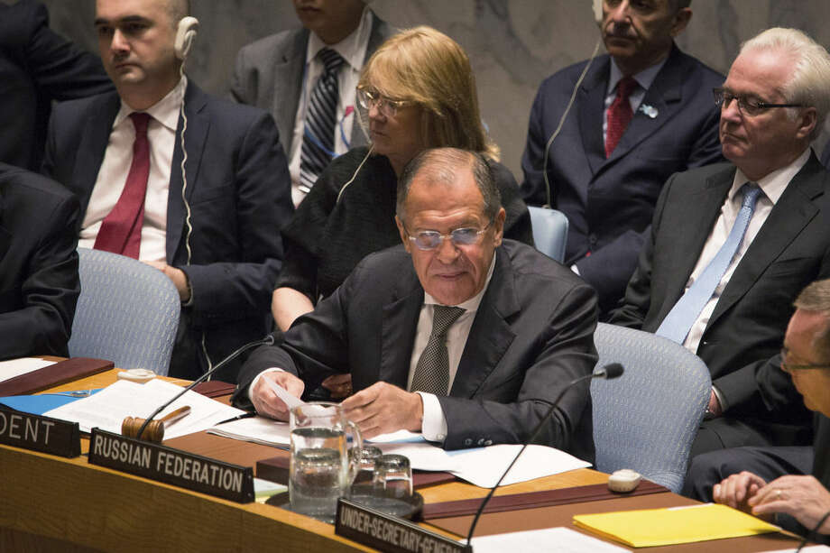 Russia's Foreign Minister Sergey Lavrov addresses the United Nations Security Council at the United Nations headquarters Wednesday, Sept. 30, 2015. (AP Photo/Kevin Hagen)