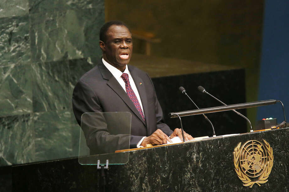 Michel Kafando, President of the Transitional Government of Burkina Faso, addresses the 70th session of the United Nations General Assembly at U.N. headquarters, Friday, Oct. 2, 2015. (AP Photo/Jason DeCrow)