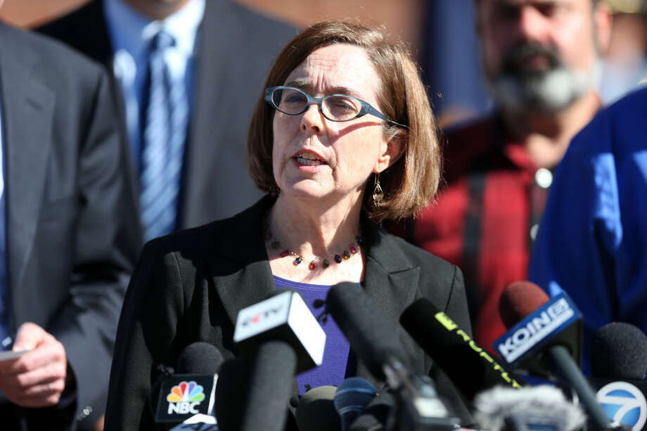 Oregon Governor Kate Brown, speaks at a press conference Friday, Oct. 2, 2015, regarding the fatal shooting at Umpqua Community College.(Randy L. Rasmussen/The Oregonian via AP)
