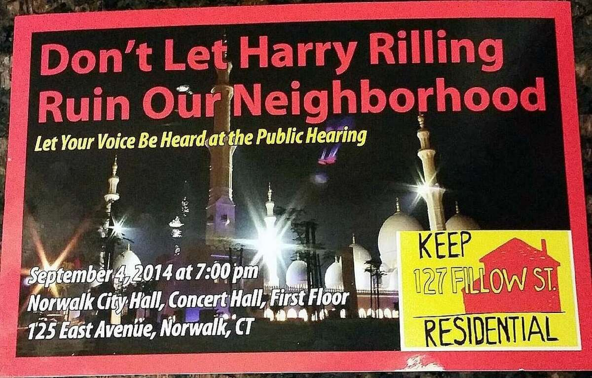 Contributed photos Above, postcards were mailed to homeowners who live in the neighborhood of the proposed mosque. The Hour is not aware of who was behind the mailings.