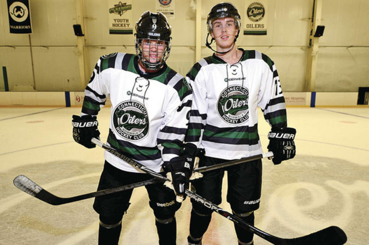 Hour photo/Erik Trautmann Swedes Luvig Steenberg and Oscar Arfelt have joined the Connecticut Oilers for the upcoming season.