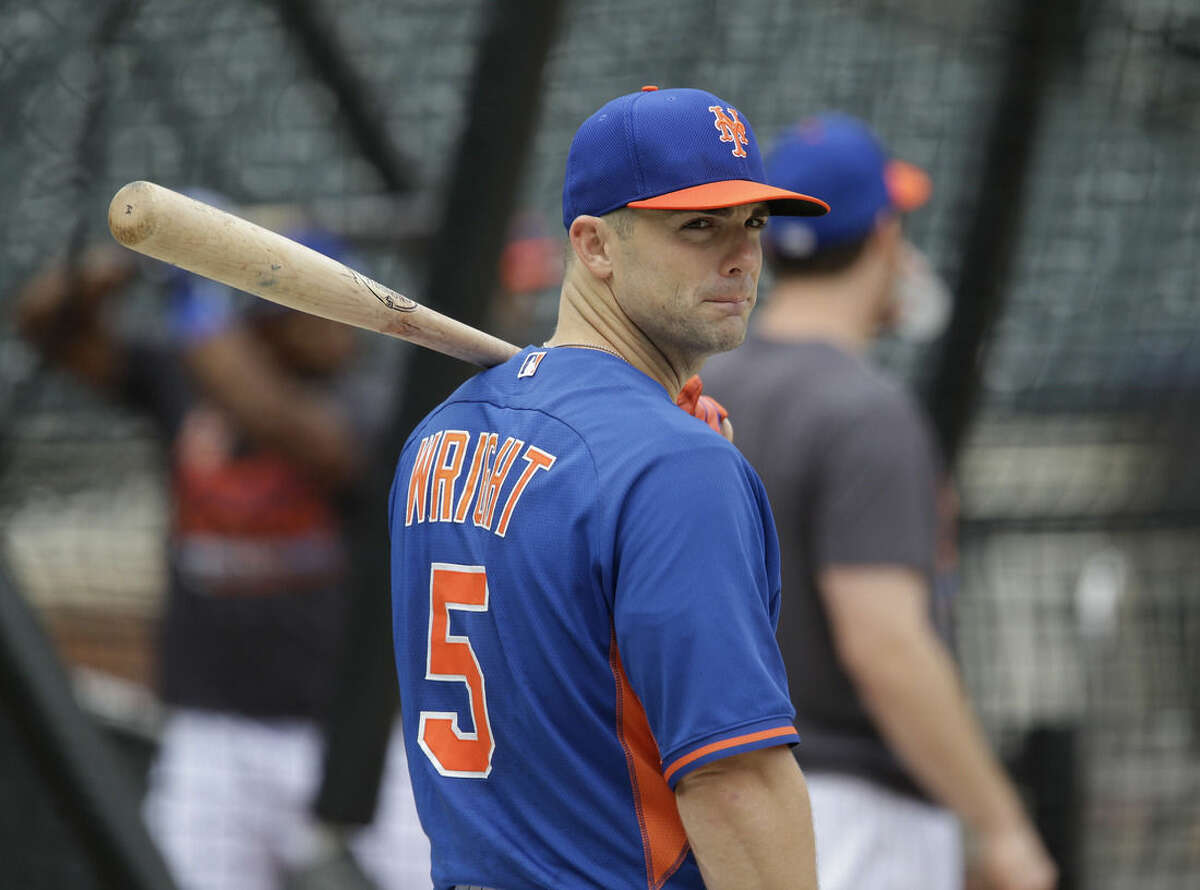New York Mets' David Wright prepares to bat during a workout at Citi Field, Wednesday, Oct. 7, 2015 in New York. The Mets will play the Los Angeles Dodgers in a National League Division Series starting Friday in Los Angeles. (AP Photo/Seth Wenig)