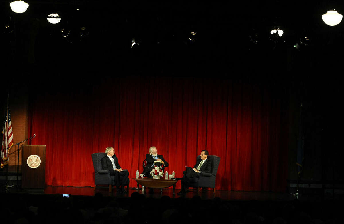 Republican candidate Tom Foley, left, moderator Ray Hackett of the Norwich Bulletin, center, and Democratic candidate for governor, Gov. Dannel P. Malloy, speak during a debate, Wednesday, Aug. 27, 2014, in Norwich, Conn. (AP Photo/Jessica Hill)