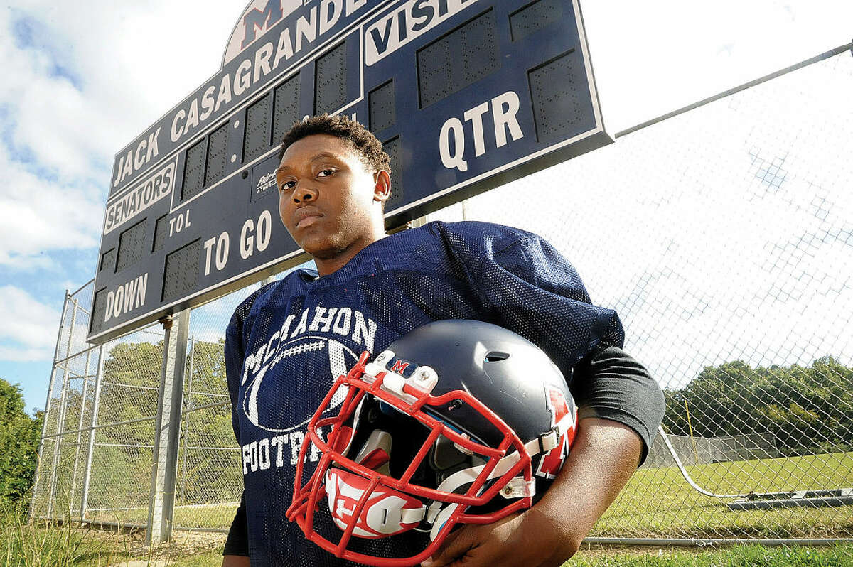 Brien McMahon's Roshad Russell went from not starting as a junior to being a senior captain who plays on both sides on the ball. (Hour photo/Matthew Vinci)