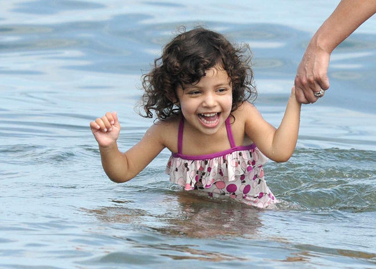 Julia Pereira 3, enjoying the warm water Labor Day Monday at Calf Pasture Beach. Hour photo/Matthew Vinci