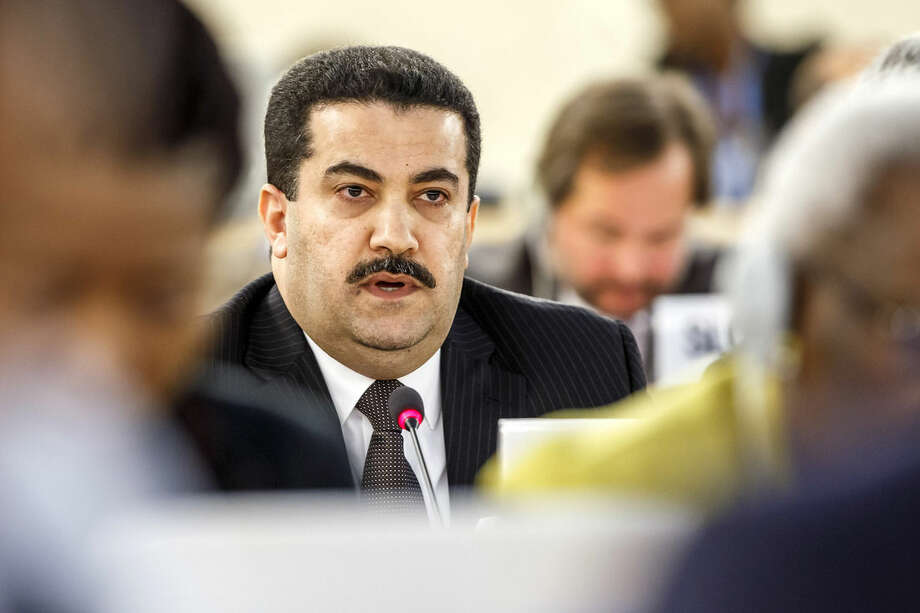 Mohammed Shia' al-Sudani, Minister of Human Rights of Iraq, speaks during a statement at the special session on Iraq of the Human Rights Council, at the European headquarters of the United Nations in Geneva, Switzerland, Monday, Sept. 1, 2014. (AP Photo/Keystone,Salvatore Di Nolfi)