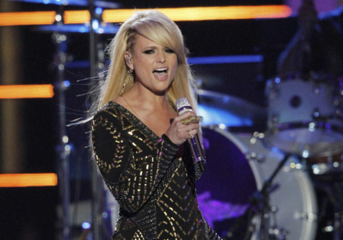FILE - In this June 4, 2014 file photo, Miranda Lambert performs on stage at the CMT Music Awards at Bridgestone Arena in Nashville, Tenn. Nominees for the 2014 Country Music Association Awards are announced Wednesday morning, Sept. 3, 2014, on