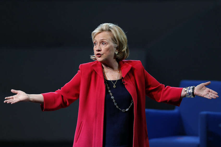Former Secretary of State Hillary Rodham Clinton speaks to the scholarship recipients of the Telmex Foundation during the annual Mexico XXI Century event, hosted by billionaire Carlos Slim, in Mexico City, Mexico, Friday, Sept. 5, 2014. (AP Photo/Dario Lopez-Mills)
