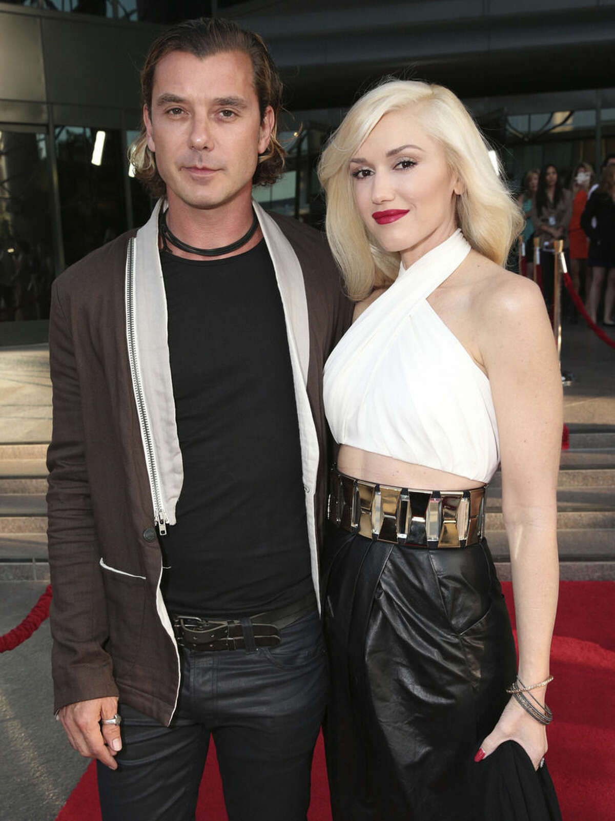 FILE - In this June 4, 2013 file photo, musicians Gavin Rossdale, left, and Gwen Stefani attend the LA premiere of