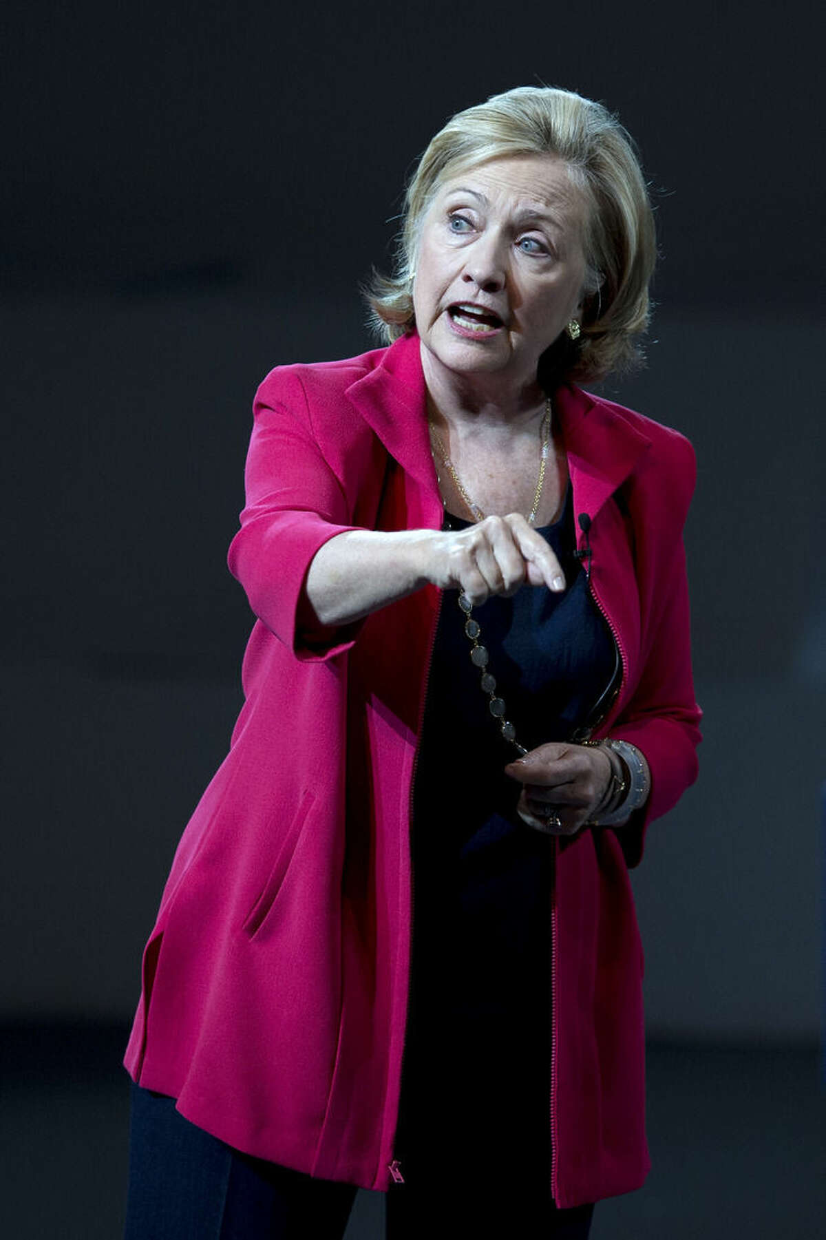 Former Secretary of State Hillary Rodham Clinton speaks to the scholarship recipients of the Telmex Foundation during the annual Mexico XXI Century event, hosted by billionaire Carlos Slim, in Mexico City, Mexico, Friday, Sept. 5, 2014. (AP Photo/Dario Lopez-Mills))