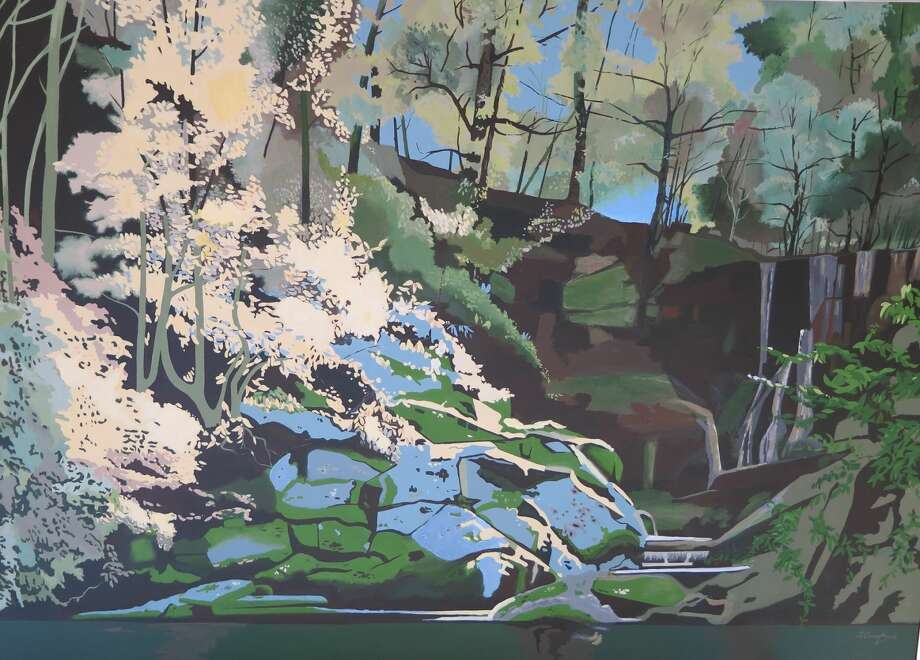 """""""Lover's Leap Falls"""" (aka Sheep Falls in Wilton) is one of more than 50 paintings featured in the """"Suzanne Crossland Retrospective"""" Art Exhibition at Wilton Library in October."""