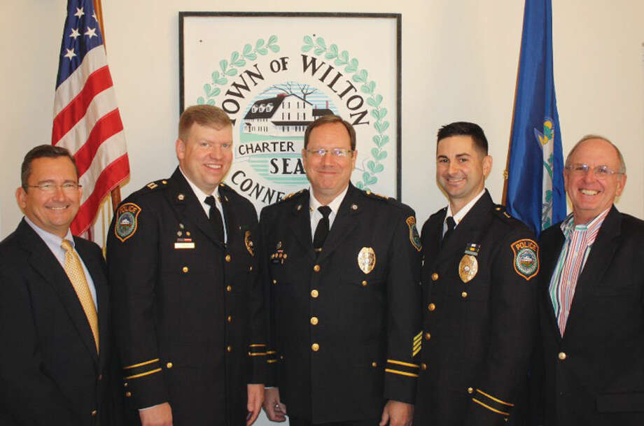 The Wilton Police Department has promoted two of its officers. Thomas Conlan was elevated from the rank of lieutenant to captain, and Robert Cipolla was elevated from sergeant to lieutenant.