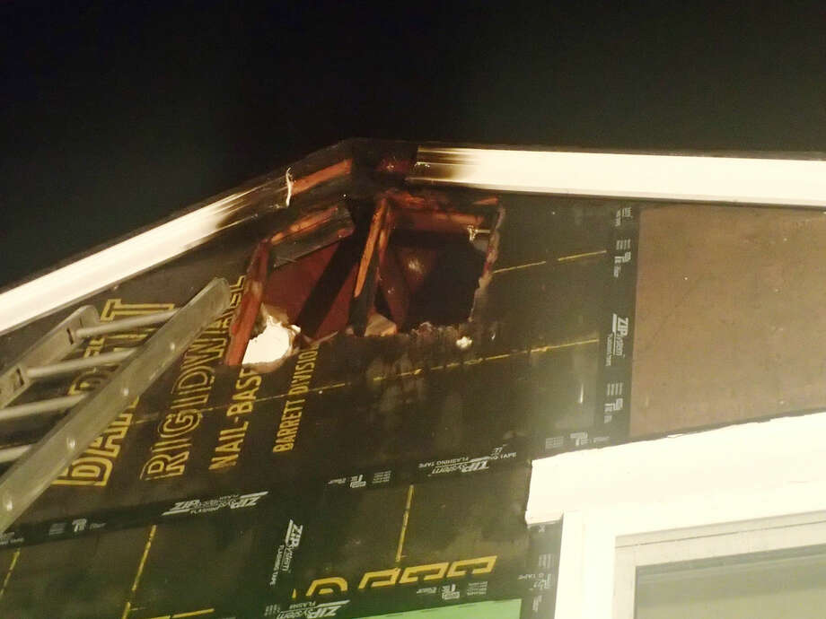 Contributed photoThe damage caused by a small blaze at a a Colony Road home in Westport Friday night.
