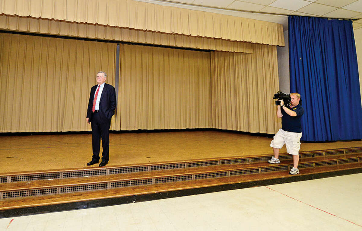 Hour photo / Erik Trautmann Stamford Mayor David Martin tours the former Sacred Heart Academy following a presentation of the keys ceremony at the former Academy which the city purchased Thursday.