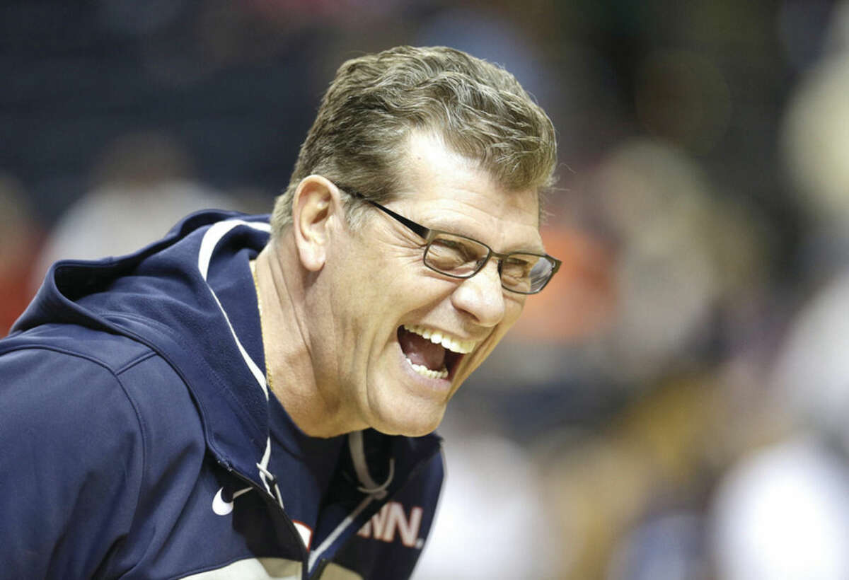 AP photo UConn women's basketball coach Geno Auriemma, seen here in this April 5, 2014, file photo, laughs during practice before the Women's Final Four of the NCAA college basketball tournament in Nashville, Tenn. The NCAA has determined that Auriemma committed a secondary rules violation when he made a phone call congratulating Little League pitching star Mo'ne Davis last month, the school announced Thursday.