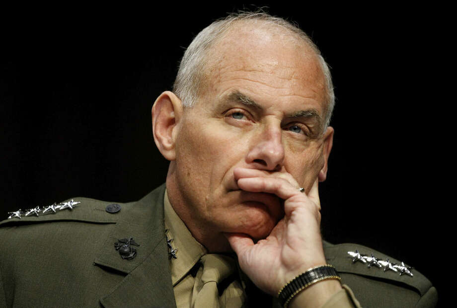 """FILE - In this March 19, 2013, file photo, US Marine Gen. John F. Kelly, commander, U.S. Southern Command listens while testifying on Capitol Hill in Washington, before the Senate Armed Services Committee. Kelly told the AP in June, 2015, that Peru's airborne smuggling is not a priority for him because less than 10 percent of the cocaine seized in the United States comes from Peru, by DEA measure. """"The drugs that are going to the United States, in my opinion, are the most important I can track,"""" Kelly said. (AP Photo/Molly Riley, File)"""