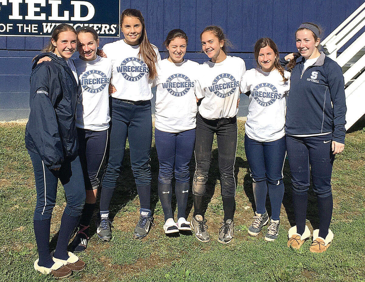 From left, Staples' Ashley Constantino, Lily Toefel, Nicola Schenck, Gabby Perry, Taylor Rochlin, Sonia Klein, Emily Lustbader are all returning varsity players who want Charlie Judge back as head coach. (Contributed photo)