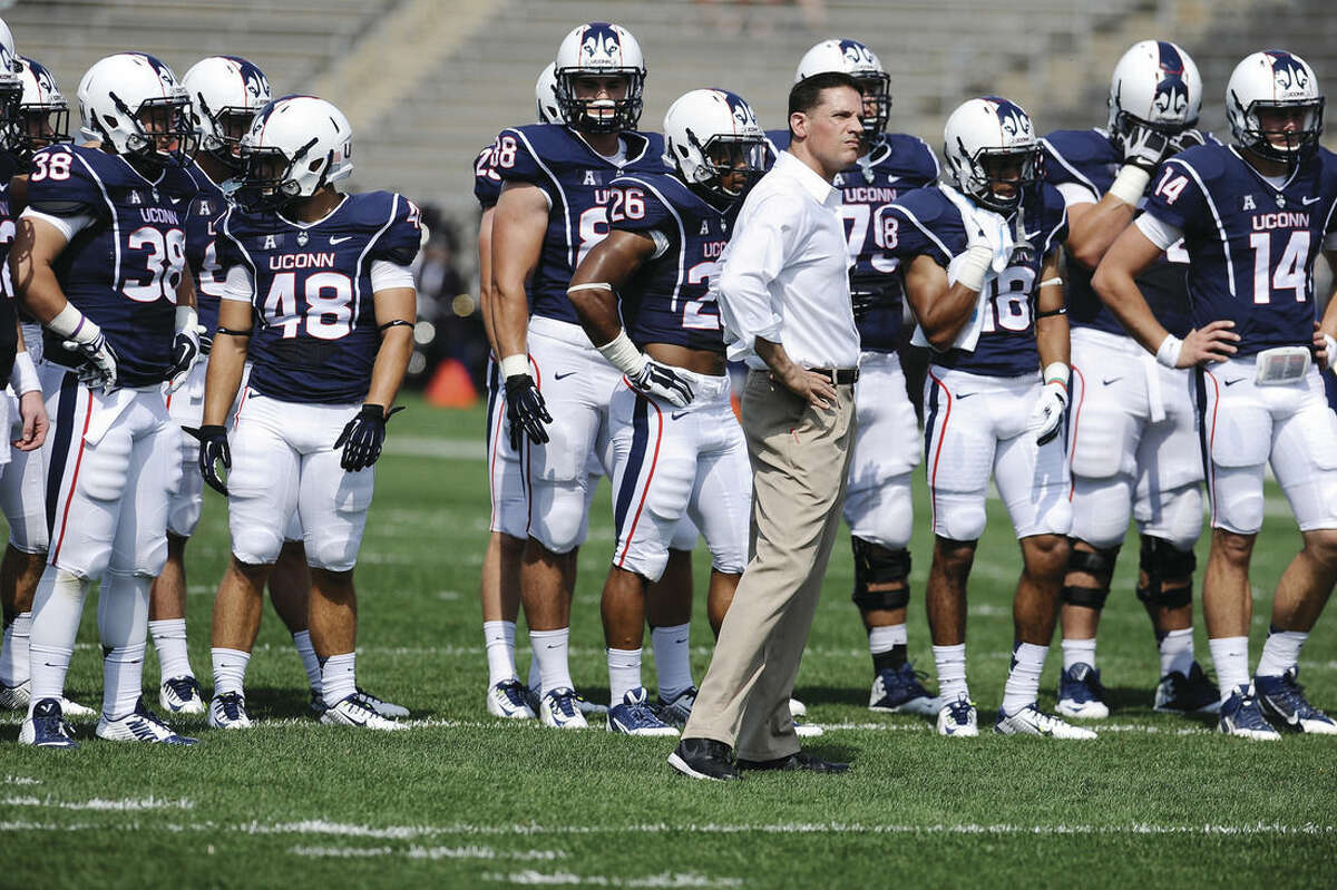 AP photo UConn head coach Bob Diaco watches his team practice before Saturday's game against Stony Brook.