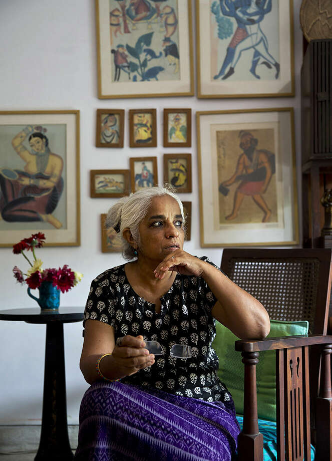 "Indian playwright and theater artiste Maya Krishna Rao rests at her residence in New Delhi, India, Wednesday, Oct. 14, 2015. As of Wednesday, 41 novelists, essayists, playwrights and poets writing in English as well as regional languages, have returned the awards they received from India's prestigious literary academy in protest, saying they cannot remain silent any longer about numerous incidents of communal violence or attacks on intellectuals across the country over the past year. ""It's become a question of an individual's right to speak, to think, to write, to eat, to dress, to debate,"" said Rao, who returned her award to the academy this week. (AP Photo/Saurabh Das)"