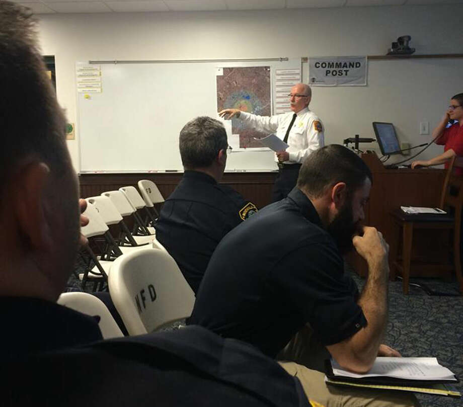 Contributed photo Norwalk Fire Chief/Emergency Management Director Denis McCarthy speaks during a table top active shooter exersise at Norwalk Fire Department Headquarters Wednesday