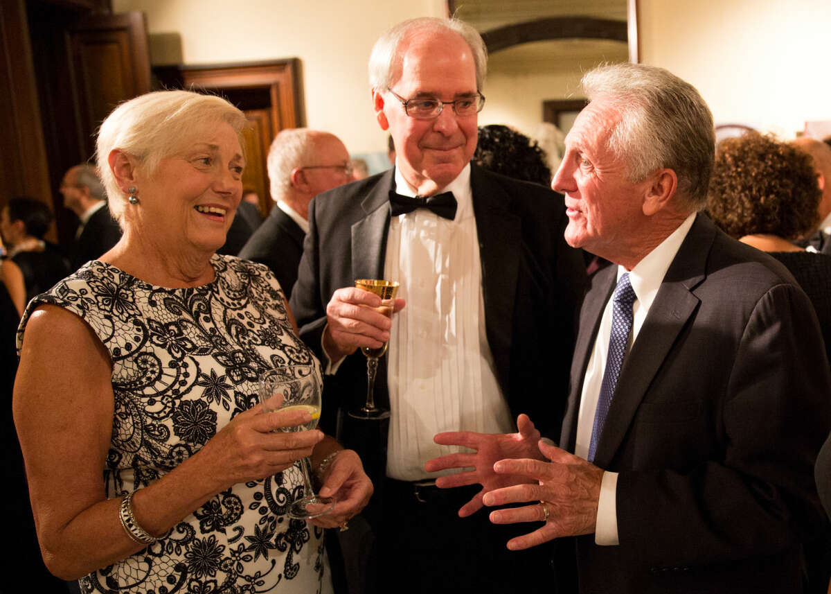 Hour photo/Chris Palermo Mayor Harry Rilling speaks with Christopher Cooke at the Lockwood Mathews Mansion Gala Saturday night.
