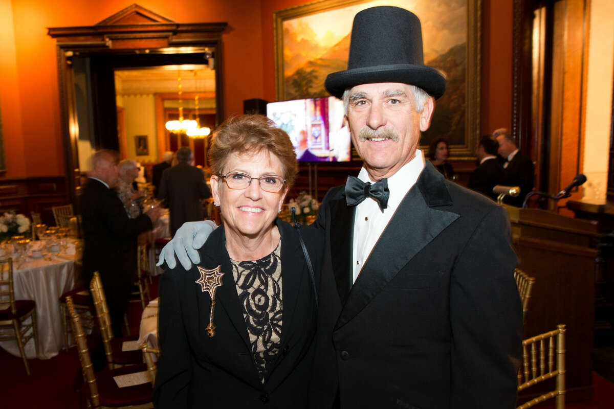 Hour photo/Chris Palermo Mickey amd Michele Koleszar pose for a photo at the Lockwood Mathews Mansion Gala Saturday night.