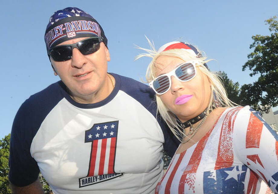 Michael Falbo and Madeline Rodriguez participate in the Ct. United Ride the largest 9/11 tribute. Hour photo/Matthew Vinci