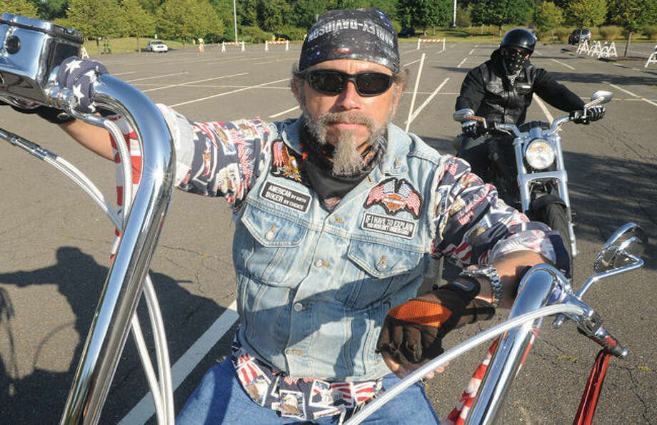 Chuck Yohe on his 98' Harley Davidson Fat Boy Sunday at the Ct. United Ride that leaves from Nordon Park every year, remembering September 11th 2001. Hour photo/Matthew Vinci