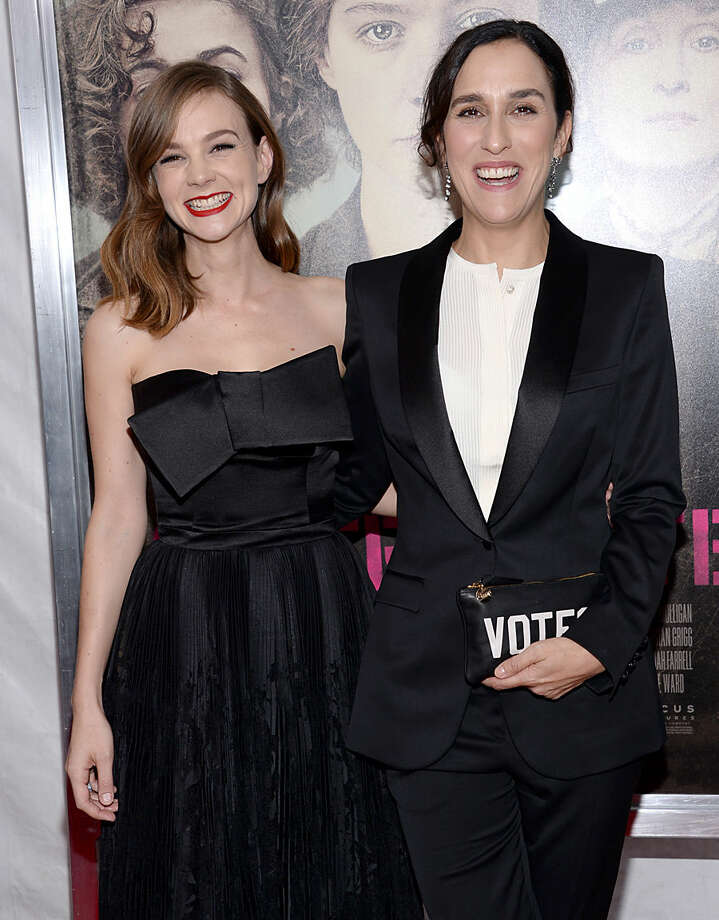 "Carey Mulligan, left, and director Sarah Gavron attend the premiere for ""Suffragette"" at the Paris Theatre on Monday, Oct. 12, 2015, in New York. (Photo by Evan Agostini/Invision/AP)"