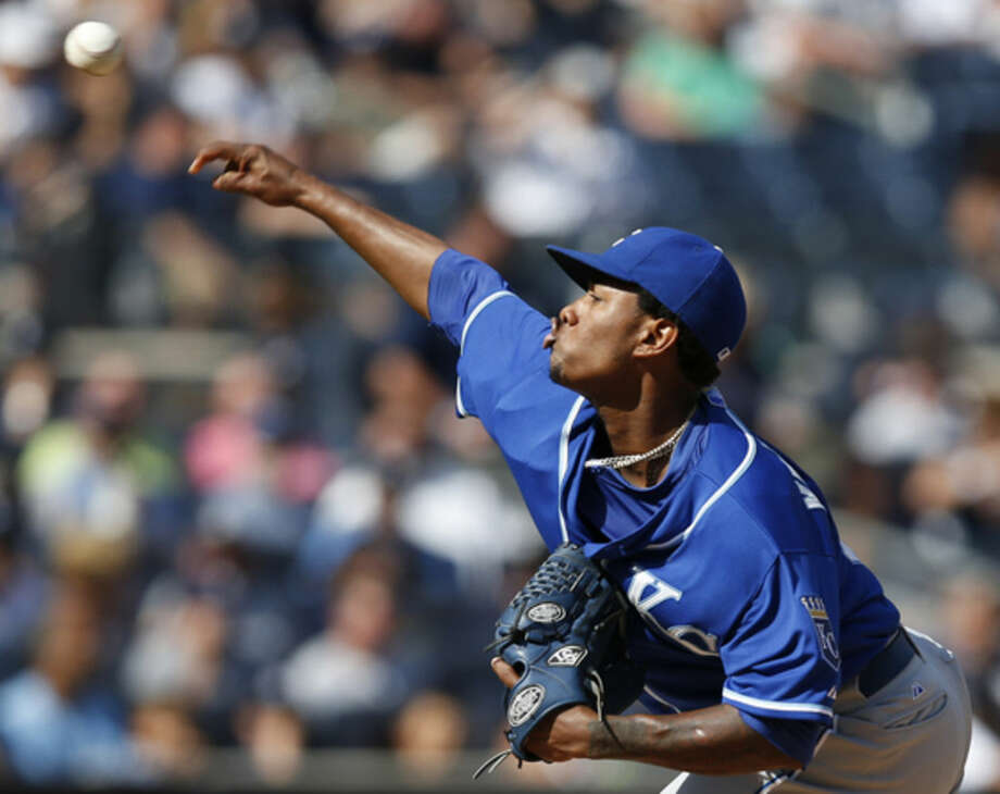 Kansas City Royals starting pitcher Yordano Ventura (30) delivers in the fourth inning of a baseball game against the New York Yankees at Yankee Stadium in New York, Sunday, Sept. 7, 2014. (AP Photo/Kathy Willens)