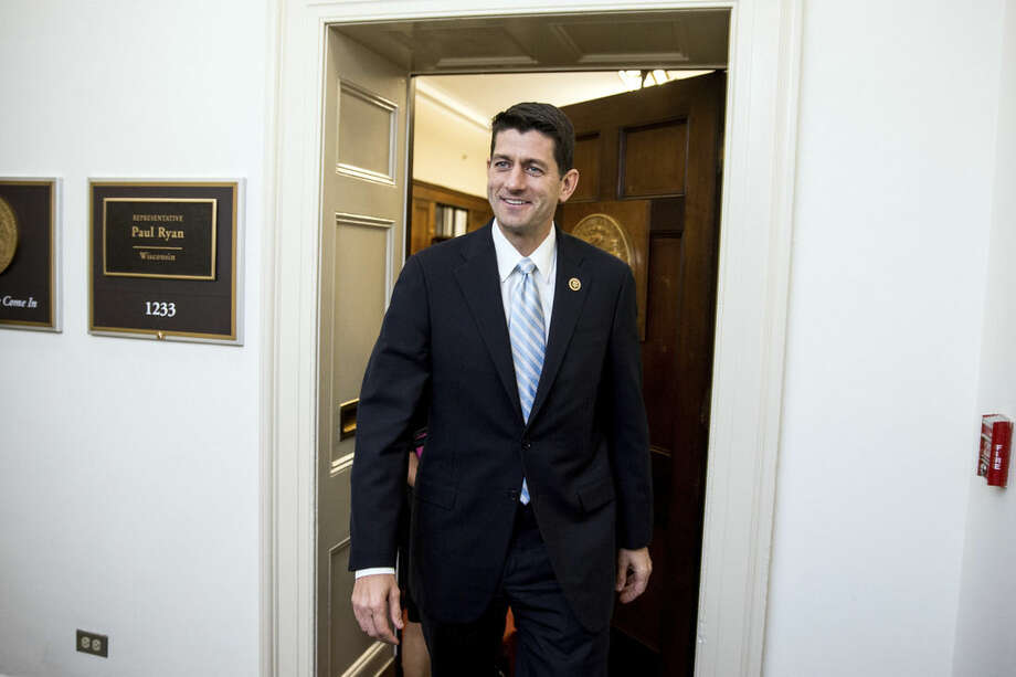 Rep. Paul Ryan, R- Wis. leaves his office before a House GOP meeting, Tuesday, Oct. 20, 2015, on Capitol Hill in Washington. (AP Photo/Andrew Harnik)