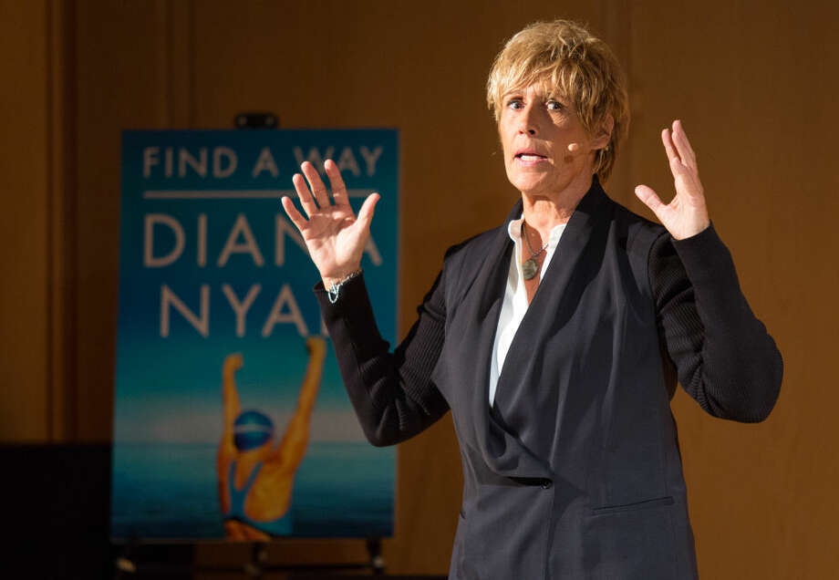 Hour photo/Chris Palermo Diana Nyad speaks at the Wilton Library Tuesday evening.